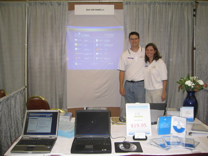 My wife and I at our first tradeshow in 2004. ↓